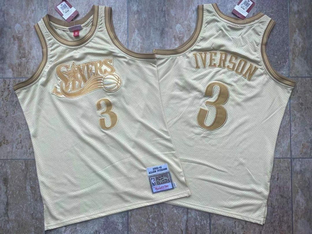 76ers 3 Allen Iverson Cream 2000-01 Hardwood Classics Jersey