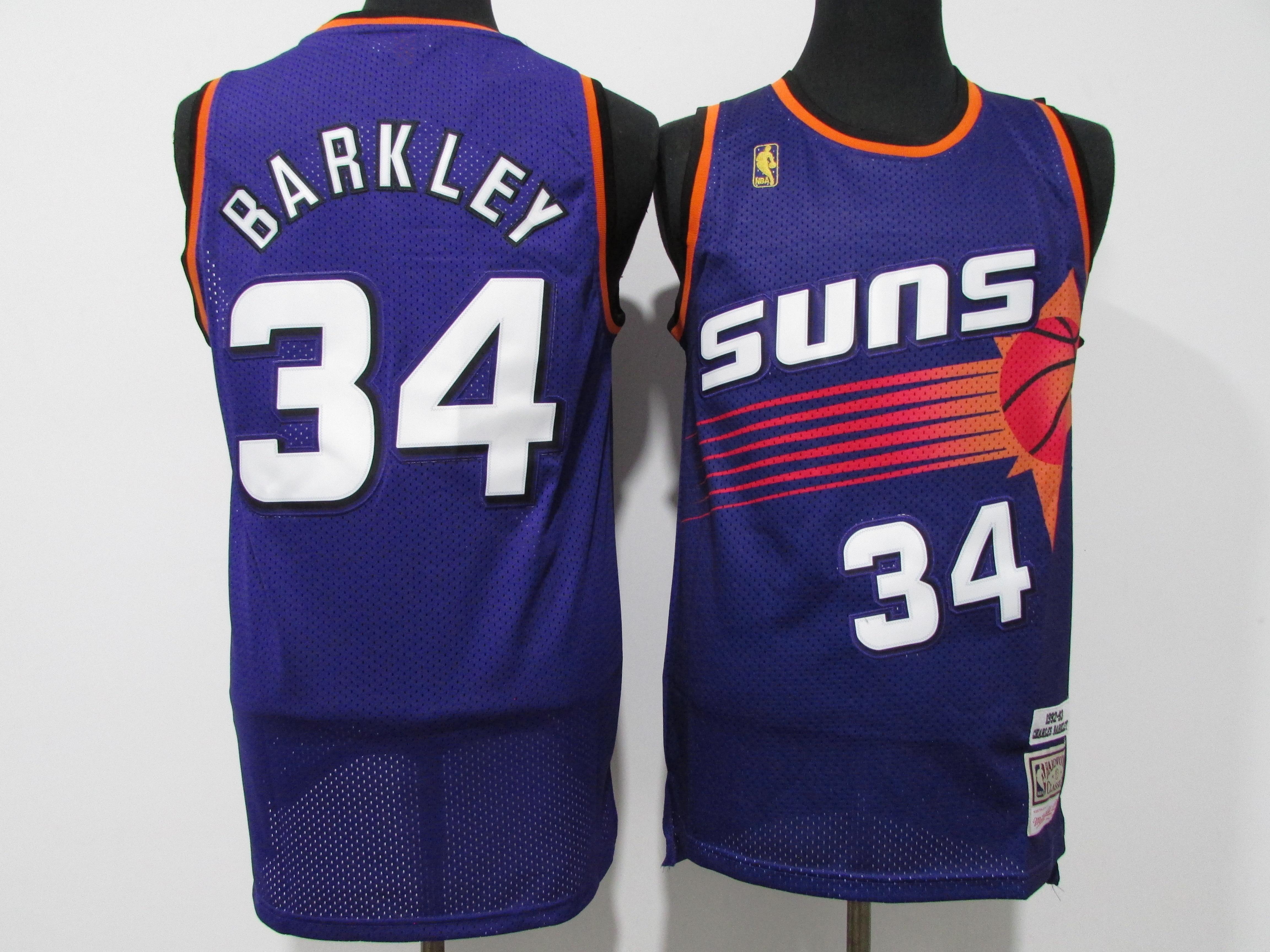Suns 34 Charles Barkley Purple Hardwood Classics Jersey