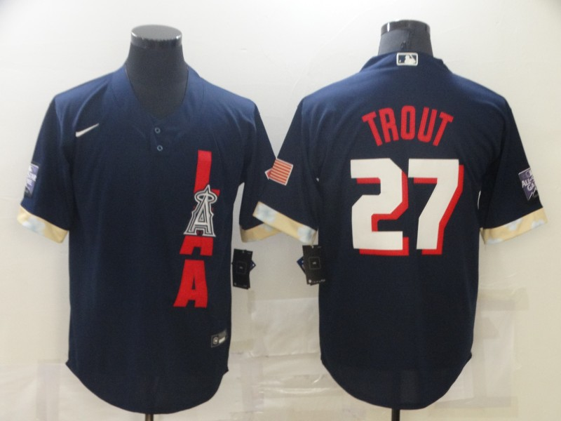 Angels 27 Mike Trout Navy Nike 2021 MLB All-Star Cool Base Jersey
