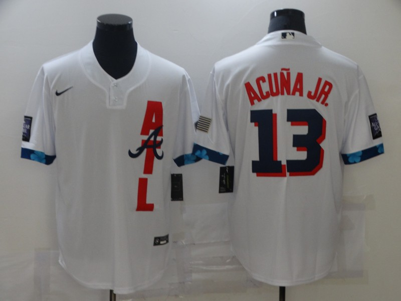 Braves 13 Ronald Acuna Jr. White Nike 2021 MLB All-Star Cool Base Jersey