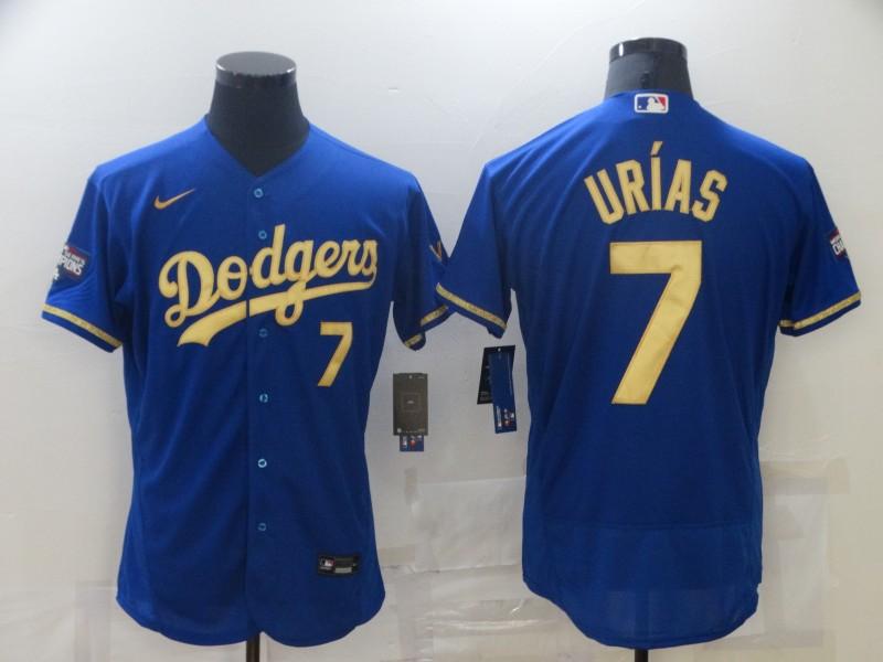 Dodgers 7 Julio Urias Royal Gold Champion Nike Flexbase Jersey