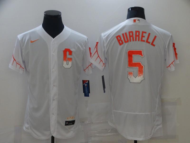 Giants 5 Pat Burrell White Nike 2021 City Connect Flexbase Jersey