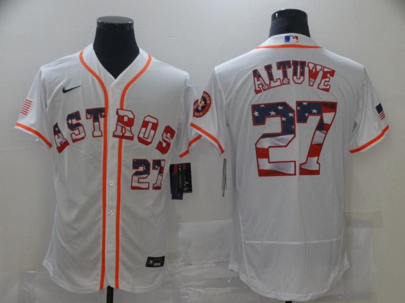 Astros 27 Jose Altuve White USA Flag Fashion Nike Flexbase Jersey
