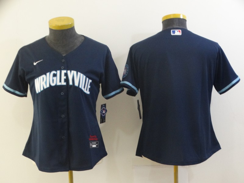 Cubs Blank Navy Women 2021 City Connect Cool Base Jersey