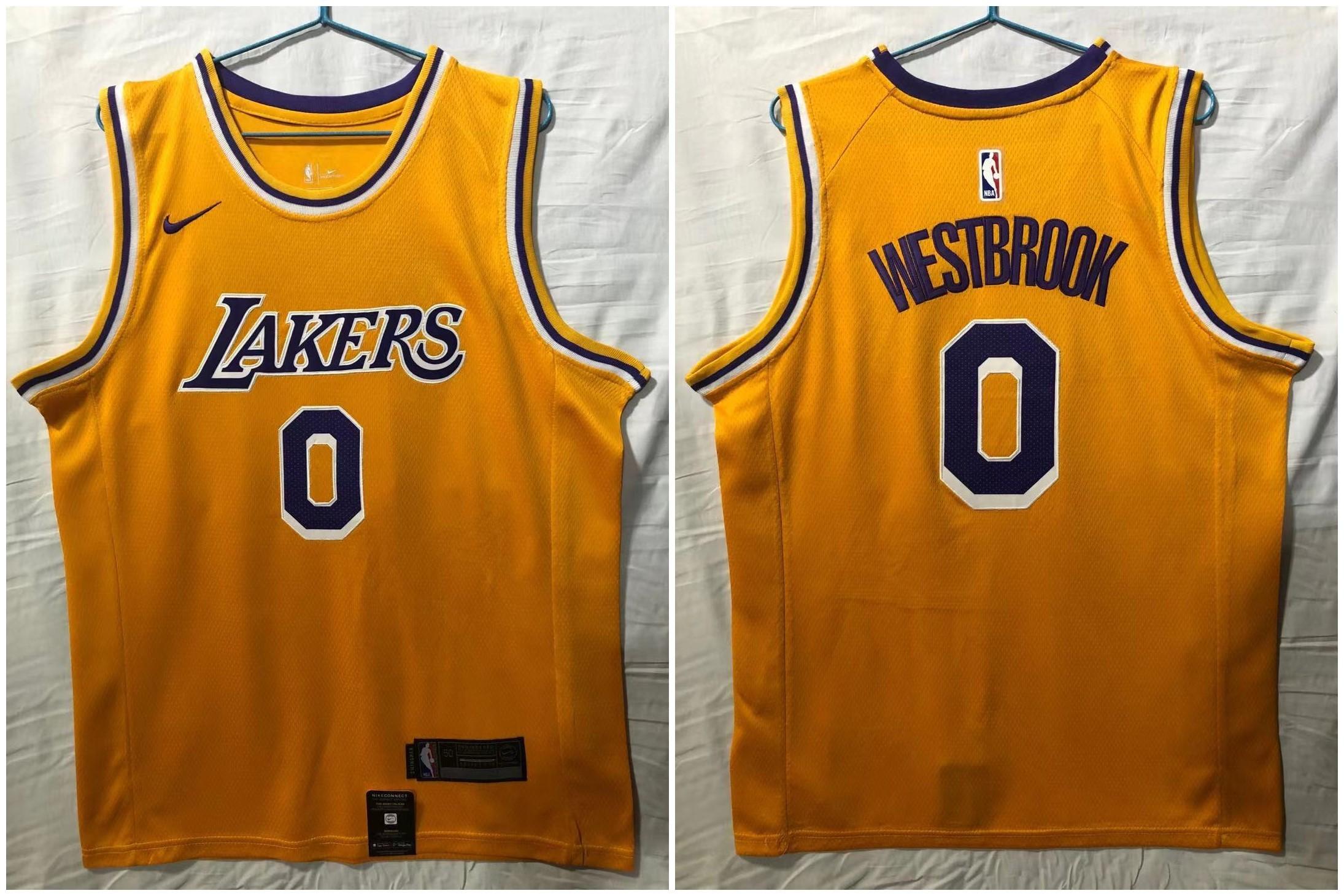 Lakers 0 Russell Westbrook Yellow Nike Swingman Jersey