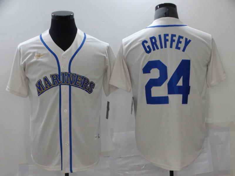 Mariners 24 Ken Griffey Jr. White Nike Thowback Cool Base Jersey