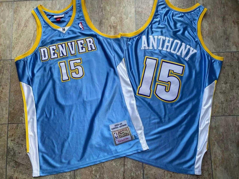 Nuggets 15 Carmelo Anthony Blue 2003 04 Hardwood Classics Jersey