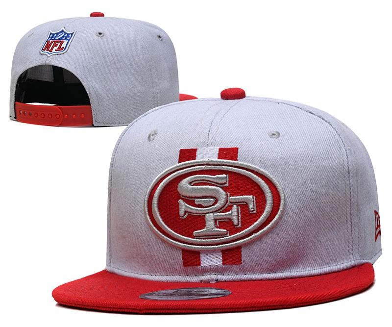 49ers Team Logo Gray Red Adjustable Hat YD
