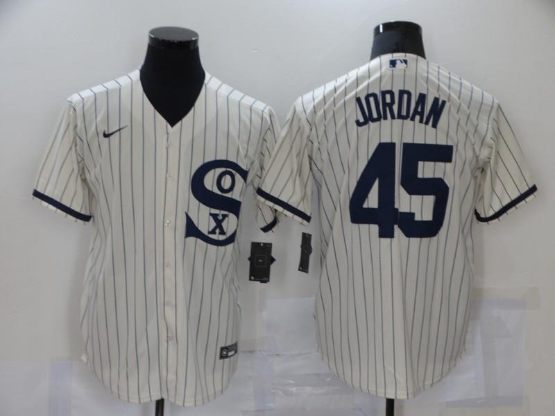 White Sox 45 Jordan Cream Nike 2021 Field Of Dreams Cool Base Jersey
