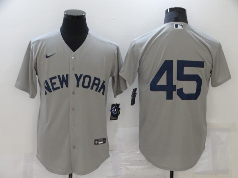 Yankees 45 Gerrit Cole Gray Nike 2021 Field Of Dreams Cool Base Jersey