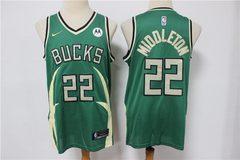 Bucks 22 Khris Middleton Green Nike 2021 Earned Edition Swingman Jersey