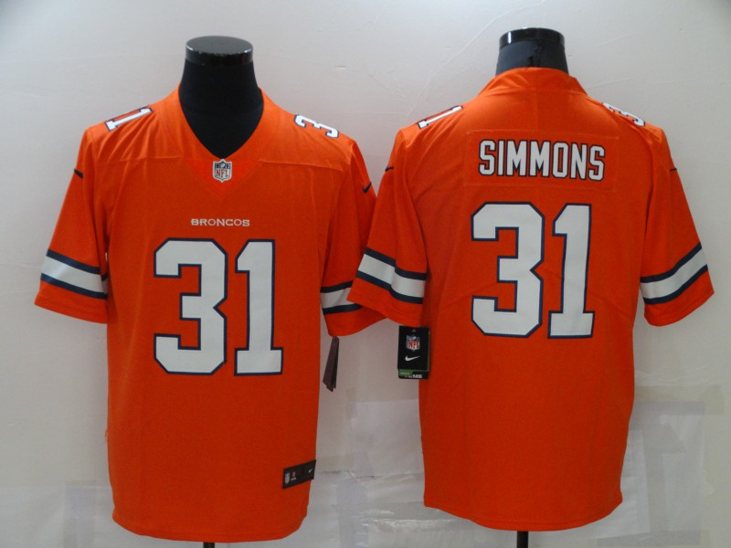 Nike Broncos 31 Justin Simmons Orange Color Rush Limited Jersey