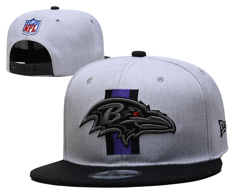 Ravens Team Logo Gray Black Adjustable Hat YD