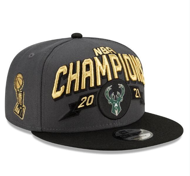 Bucks Team Logo Gray Black New Era 2021 NBA Finals Champions Adjustable Hat SG