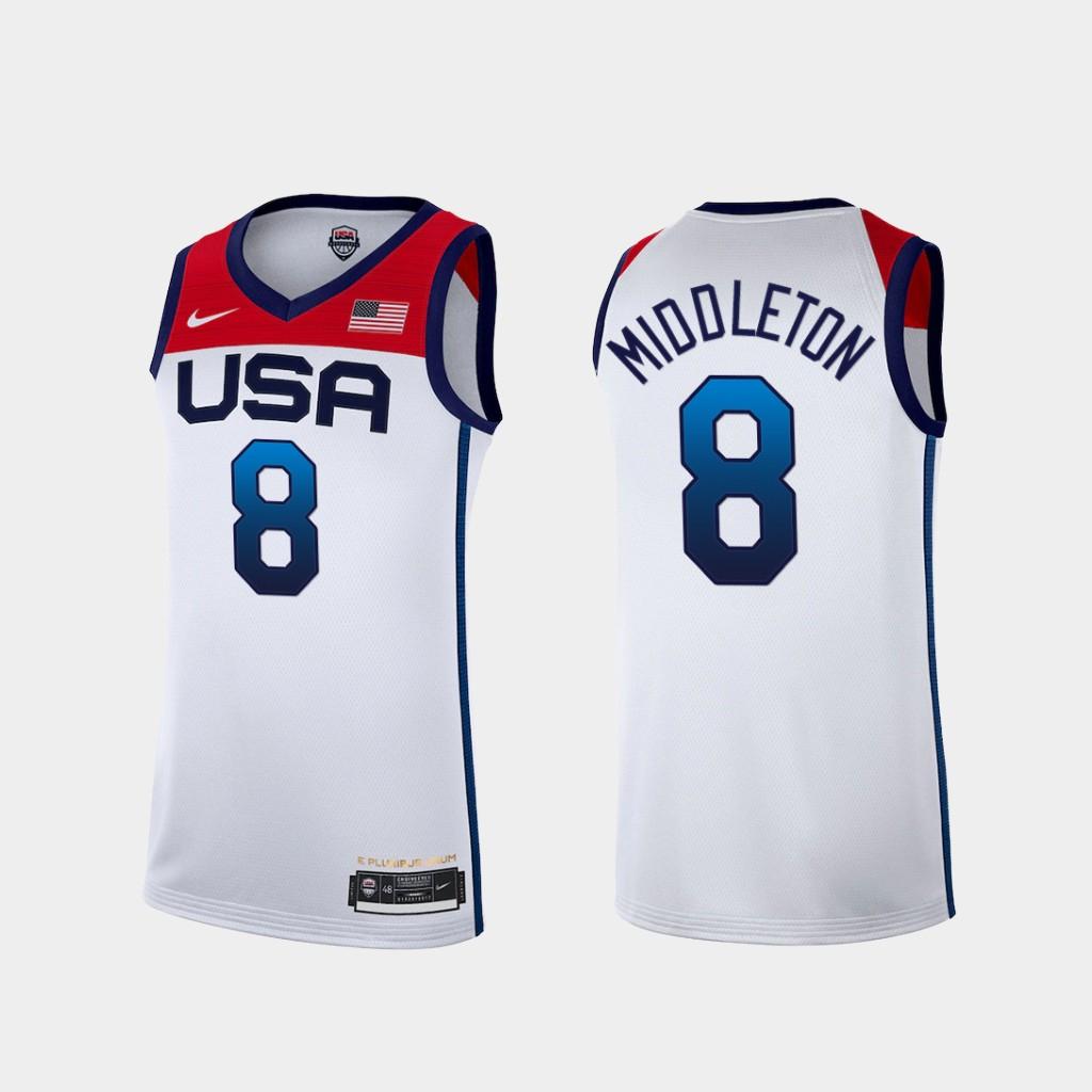 Team USA 8 Middleton White 2021 Olympics Basketball Swingman Jersey