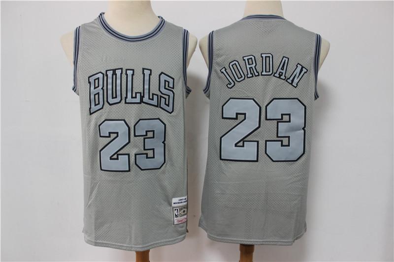 Bulls 23 Michael Jordan Gray Hardwood Classics Jersey