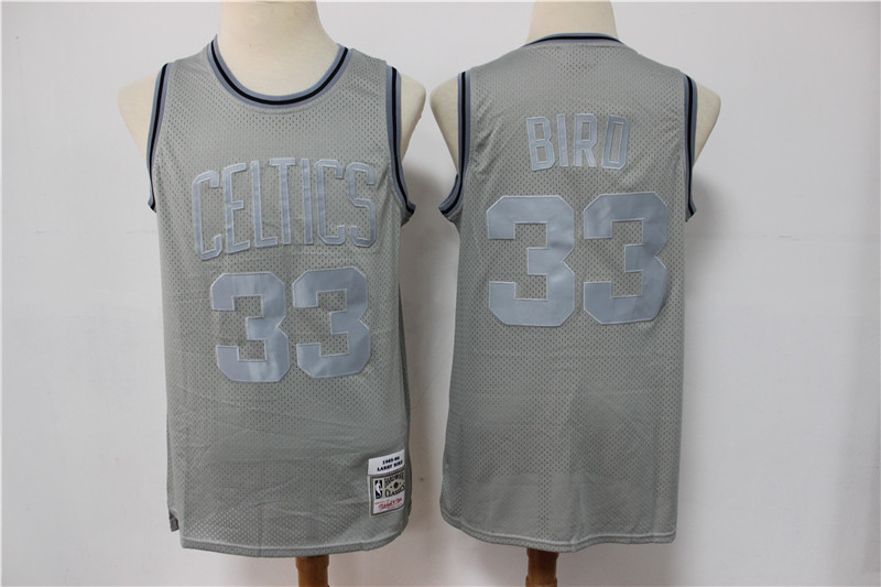 Celtics 33 Larry Bird Gray Hardwood Classics Jersey