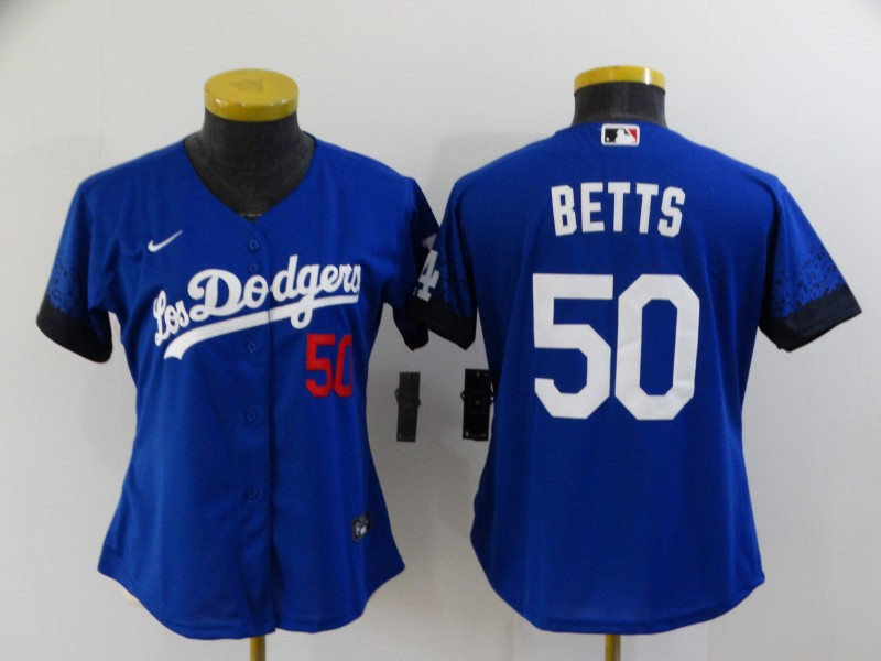 Dodgers 50 Mookie Betts Royal Women 2021 City Connect Cool Base Jersey