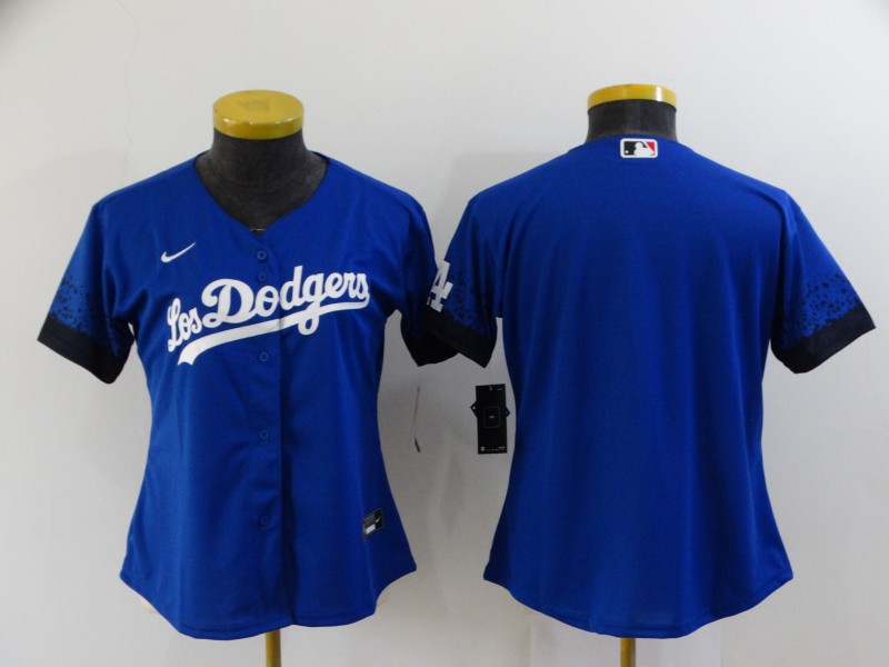 Dodgers Blank Royal Women 2021 City Connect Cool Base Jersey