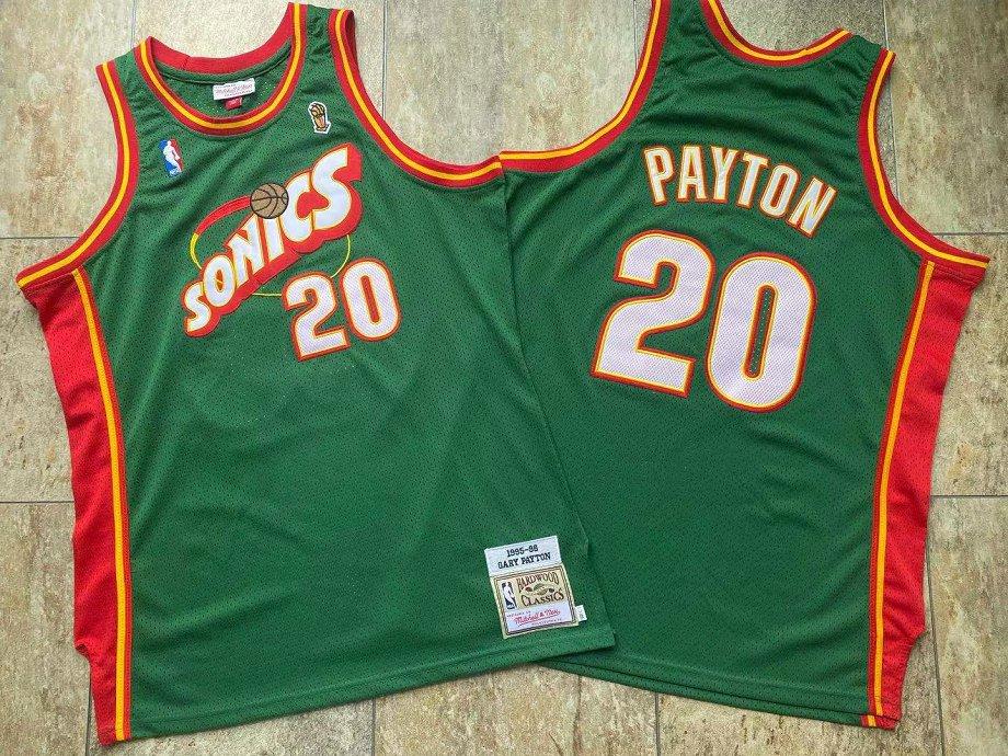 SuperSonics 20 Gary Payton Green 1995-96 Hardwood Classics Jersey