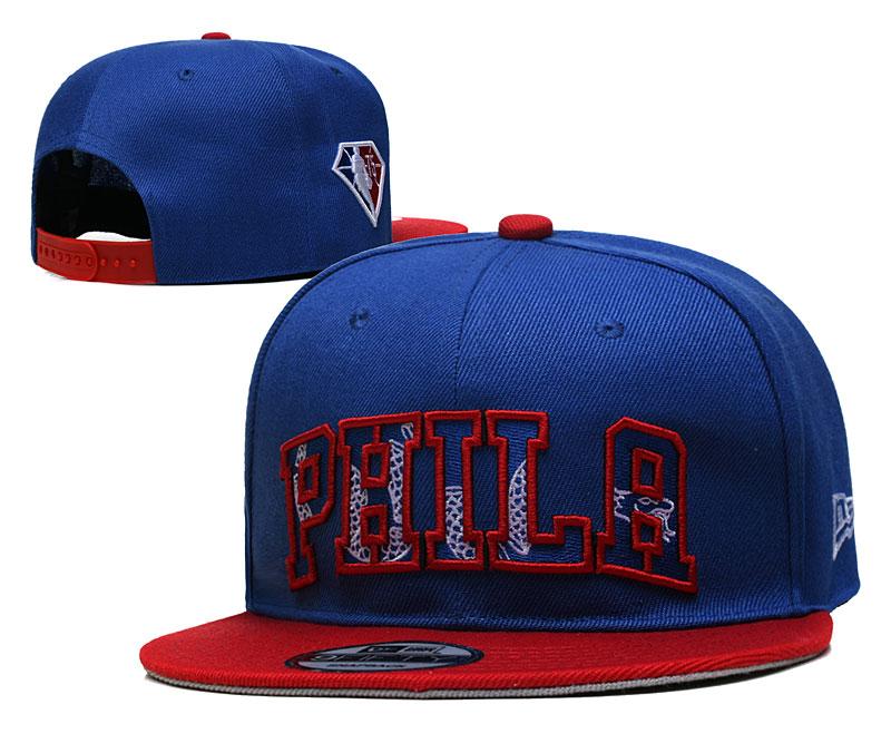76ers Team Logo New Era Blue Red 2021 NBA Draft Adjustable Hat YD