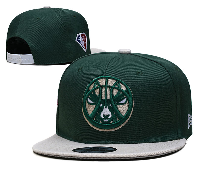Bucks Team Logo New Era Green Gray 2021 NBA Draft Adjustable Hat YD