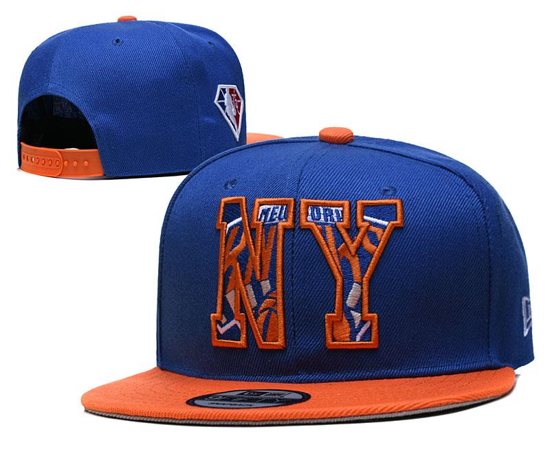 Knicks Team Logo New Era Blue Orange 2021 NBA Draft Adjustable Hat YD