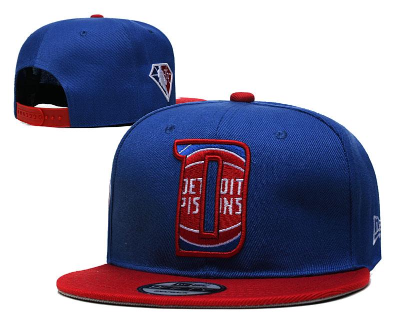 Pistons Team Logo New Era Blue Red 2021 NBA Draft Adjustable Hat YD