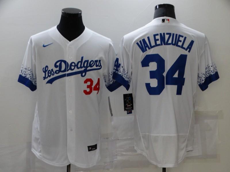 Dodgers 34 Fernando Valenzuela White 2021 City Connect Flexbase Jersey