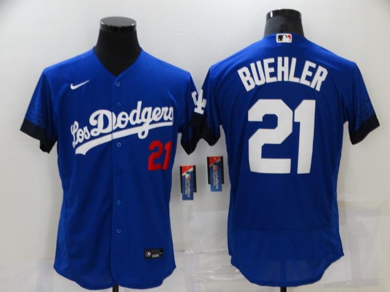 Dodgers 21 Walker Buehler Royal 2021 City Connect Flexbase Jersey