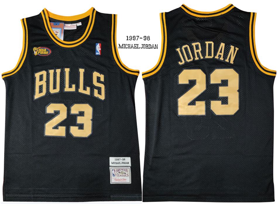 Bulls 23 Michael Jordan Black 1997-98 Hardwood Classics NBA Finals Mesh Jersey