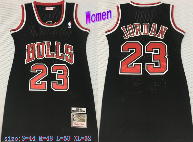 Bulls 23 Michael Jordan Black Women 1997-98 Hardwood Classics Mesh Jersey
