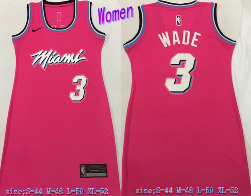 Heat 3 Dwyane Wade Pink Women Nike Swingman Jersey