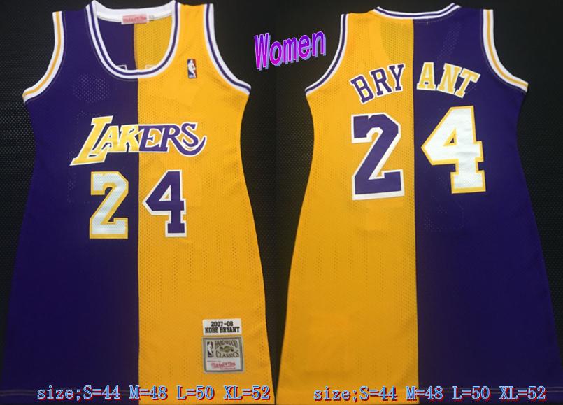 Lakers 24 Kobe Bryant Split Yellow Purple Women 2007-08 Hardwood Classics Jersey