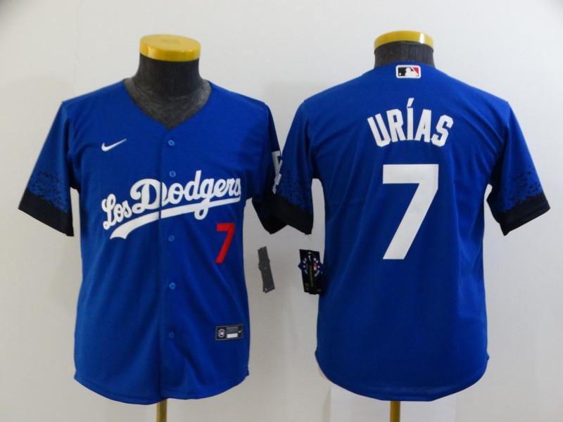 Dodgers 7 Julio Urias Royal Youth 2021 City Connect Cool Base Jerseys