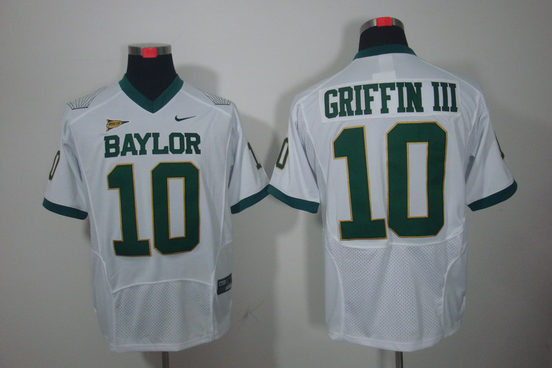 Baylor Bears 10 Robert Griffin III White Jerseys