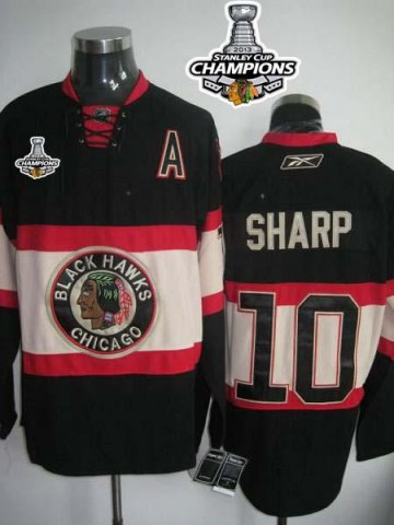 Blackhawks 10 Patrick Sharp Black New Third 2013 Stanley Cup Champions Jerseys