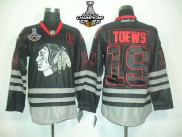 Blackhawks 19 Jonathan Toews Black Ice 2013 Stanley Cup Champions Jerseys