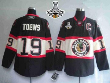 Blackhawks 19 Jonathan Toews Black New Third 2013 Stanley Cup Champions Jerseys