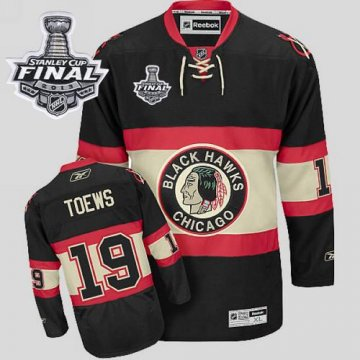 Blackhawks 19 Jonathan Toews Black New Third With 2013 Stanley Cup Finals Jerseys