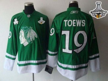 Blackhawks 19 Jonathan Toews Green St. Patty'S Day 2013 Stanley Cup Champions Jerseys