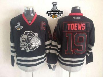 Blackhawks 19 Toews black Ice 2013 Stanley Cup Champions Skull Logo Fashion Jerseys