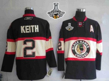Blackhawks 2 Duncan Keith Black New Third 2013 Stanley Cup Champions Jerseys