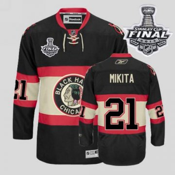 Blackhawks 21 Stan Mikita Black New Third With 2013 Stanley Cup Finals Jerseys