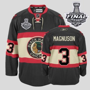 Blackhawks 3 Keith Magnuson Black New Third With 2013 Stanley Cup Finals Jerseys