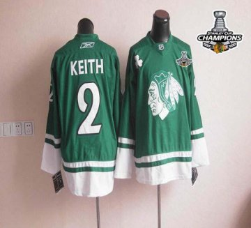 Blackhawks St Patty'S Day 2 Duncan Keith Green 2013 Stanley Cup Champions Jerseys