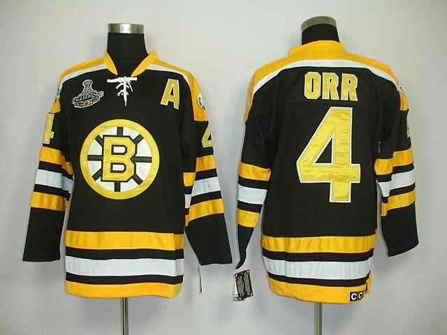 Bruins 4 Orr Black Champions Jerseys