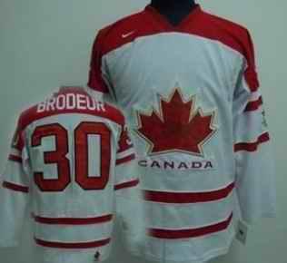 Canada 30 Brodeur White Jerseys