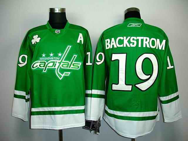 Capitals 19 Backstrom green St.Patricks Day Jerseys