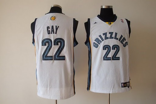 Grizzlies 22 Rudy Gay White Jerseys